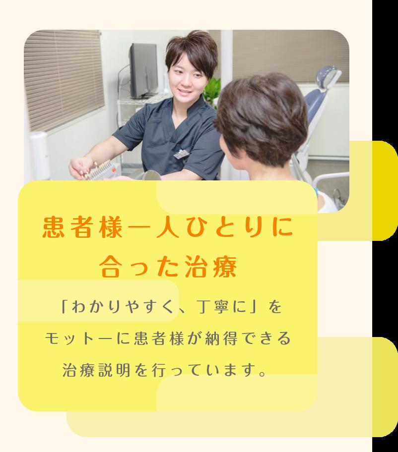 患者様一人ひとりに合った治療 「わかりやすく、丁寧に」をモットーに患者様が納得できる治療説明を行っています。